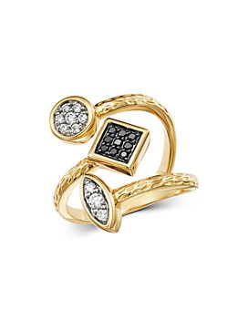 Bloomingdale's - Diamond & Black Diamond Geometric Ring in 14K Yellow Gold - 100% Exclusive