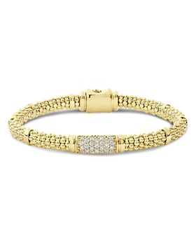 LAGOS - 18K Yellow Gold Caviar Diamond Slim Station Bracelet