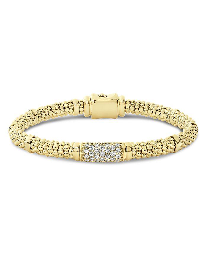 LAGOS - 18K Yellow Gold Caviar Diamond Slim Station Bracelet