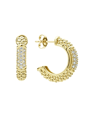 Lagos 18K Yellow Gold Caviar Gold Pave Diamond Hoop Earrings