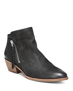 Sam Edelman - Women's Packer Almond Toe Leather Low Heel Booties