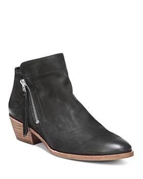 97fdd4f4d569 Sam Edelman - Women s Packer Almond Toe Leather Low Heel Booties ...