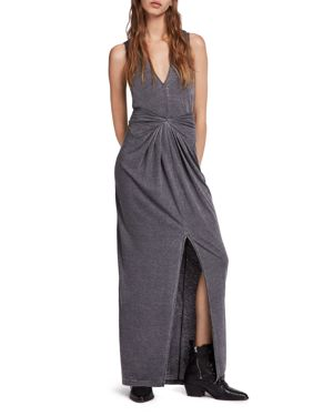 Elke Tie-Detail Maxi Dress, Coal Gray