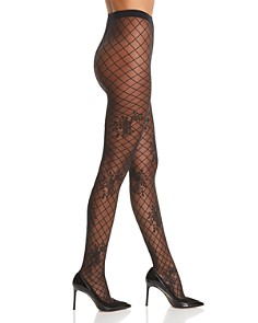 Wolford - Helena Floral Fishnet Tights