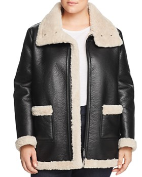 VINCE CAMUTO Plus - Faux Shearling Moto Jacket