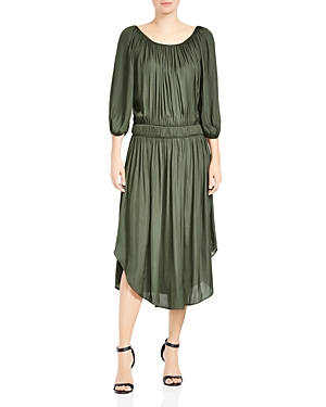 Halston Heritage Satin Scoop-Neck Ruched Dress