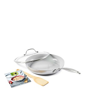 "GreenPan - Venice Pro 11"" Ceramic Nonstick Covered Frypan w/ Bamboo Turner & Mini Cookbook"