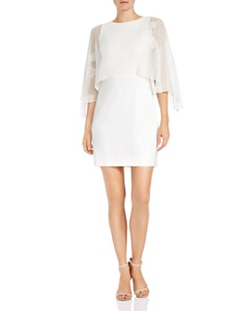 HALSTON HERITAGE - Floral-Embroidered Cape Dress