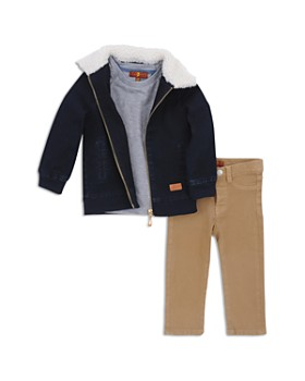 7 For All Mankind - Boys' Denim Jacket, Pocket Tee & Twill Pants Set - Little Kid