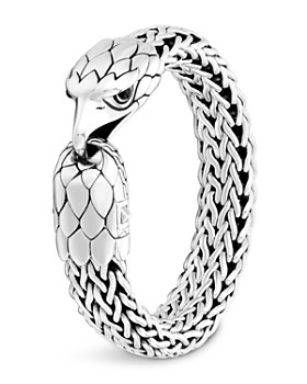 JOHN HARDY - Sterling Silver Legends Eagle with Black Chalcedony Eyes Flat Chain Bracelet