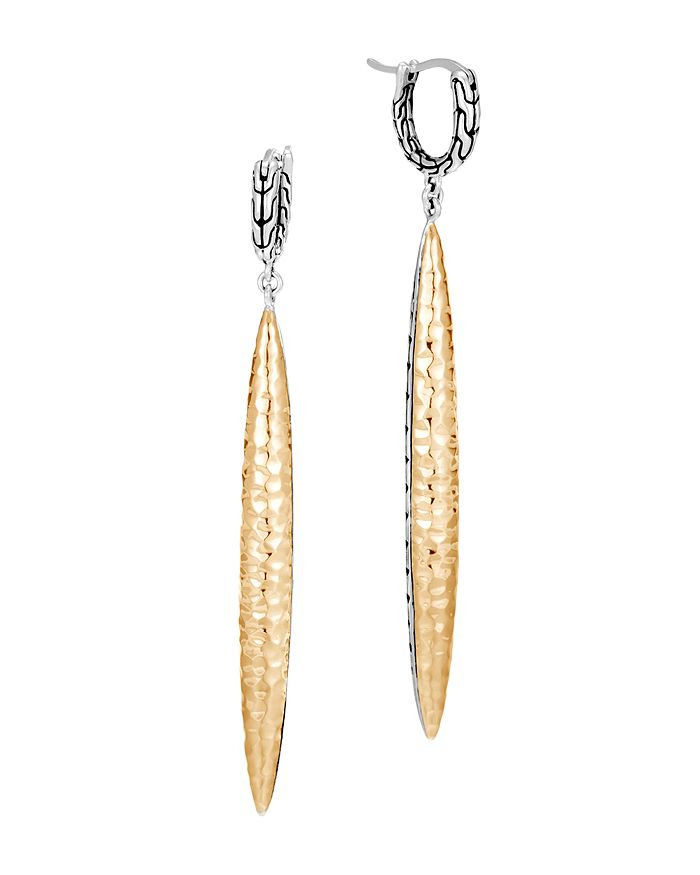 JOHN HARDY - Sterling Silver & 18K Bonded Yellow Gold Classic Chain Hammered Drop Earrings