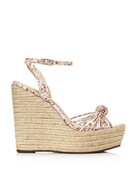 SCHUTZ - Women's Gianne Floral Leather Espadrille Platform Wedge Sandals