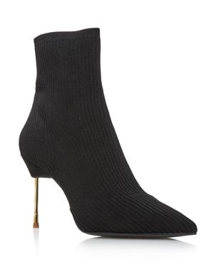 Women'S Barbican Pointed Toe Knit Booties in Black Knit
