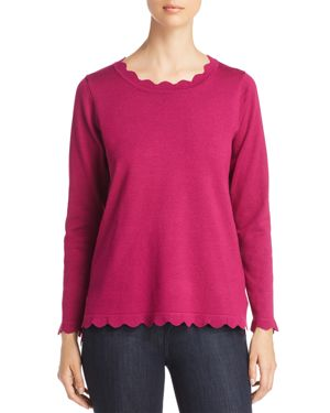 AVEC Scalloped Sweater in Wild Berry