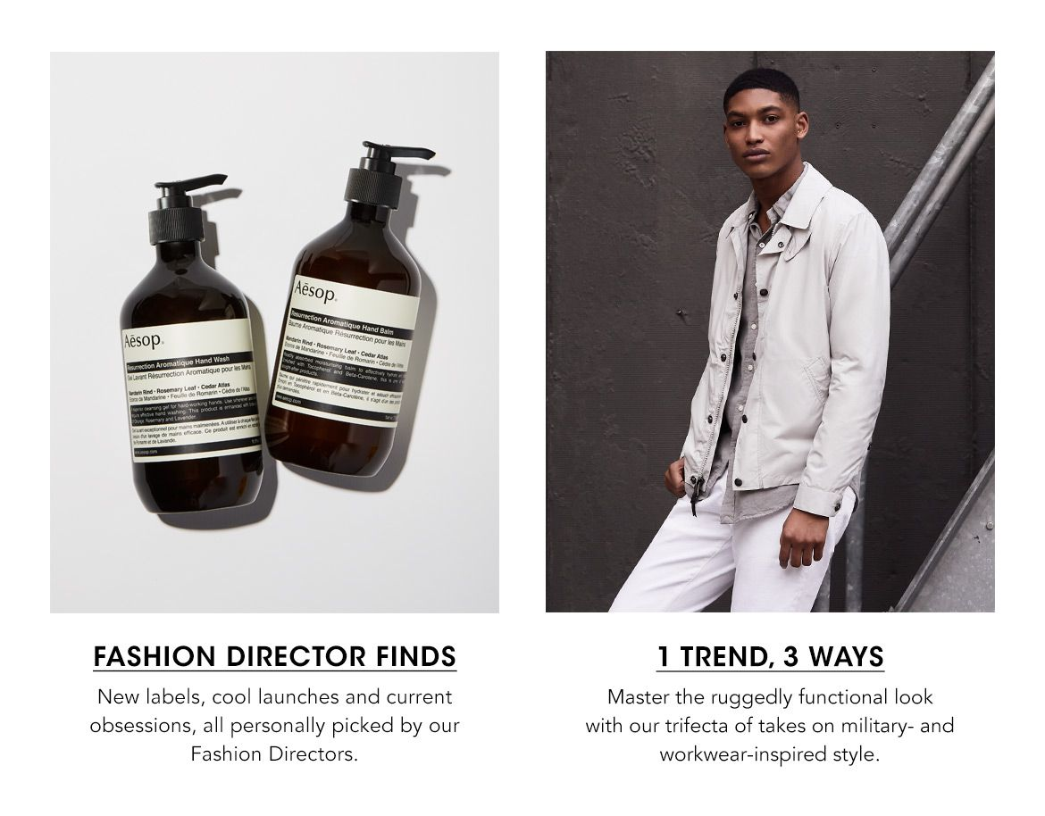 Fashion Direct Finds and Men's one trend, done three ways.