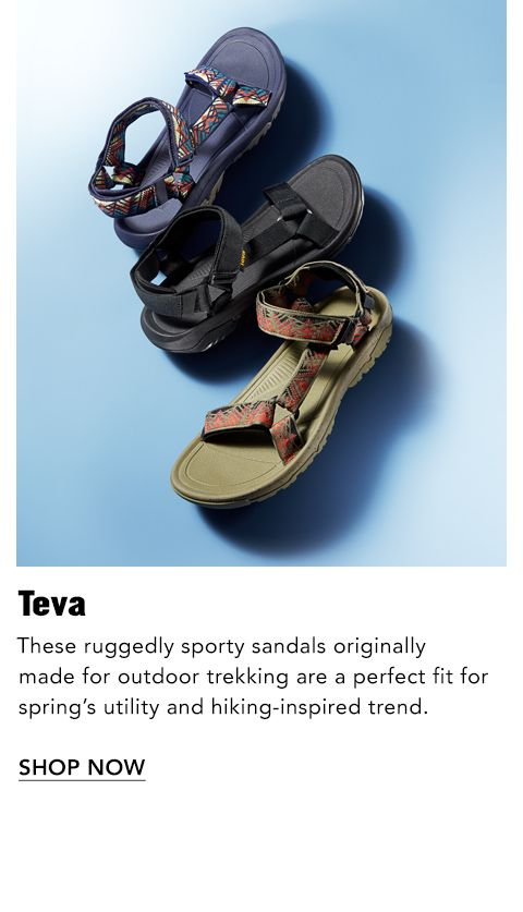 09f75bc0157ec7 Names to Know. Teva. These ruggedly sporty sandals originally made for  outdoor trekking are