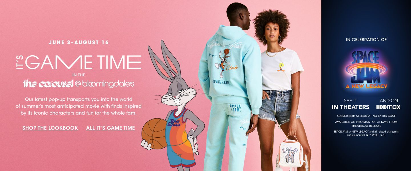 June 3 to August 16, it is game time in the carousel at bloomingdales. Our latest pop up transports you into the world of summers most anticipated movie. In celebration of Space Jam, a new legacy. See it in theaters and on H. B. O. Max.