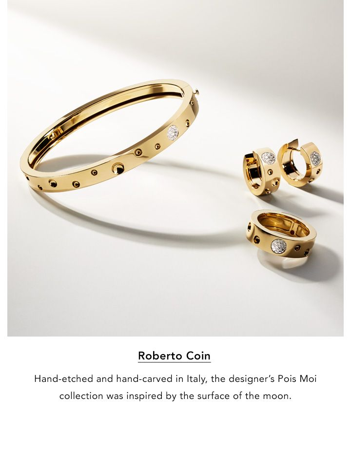 Roberto Coin. Hand-etched and hand-carved in Italy, the designer's Pois Moi collection was inspired by the surface of the moon.