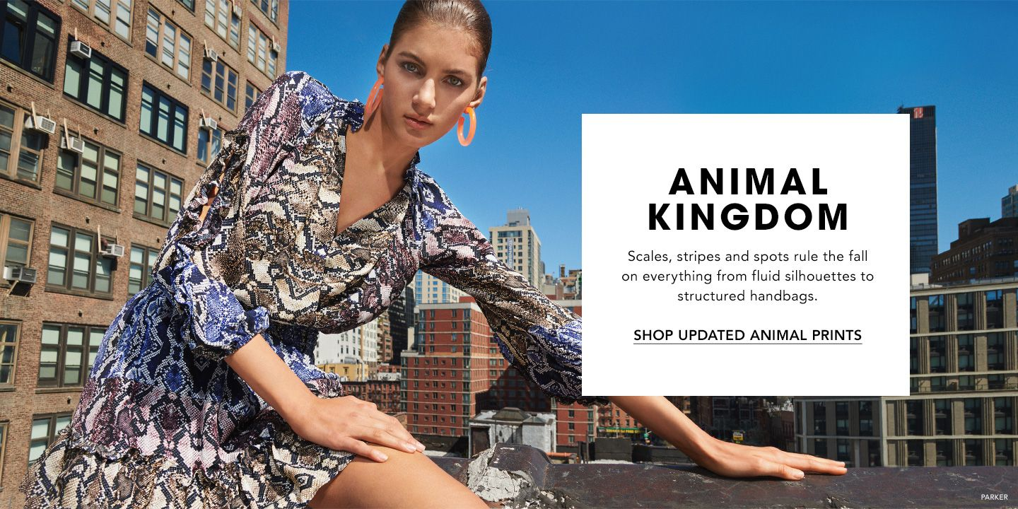 Animal Kingdom. Scales, stripes and spots rule the fall on everything from fluid silhouettes to structured handbags.