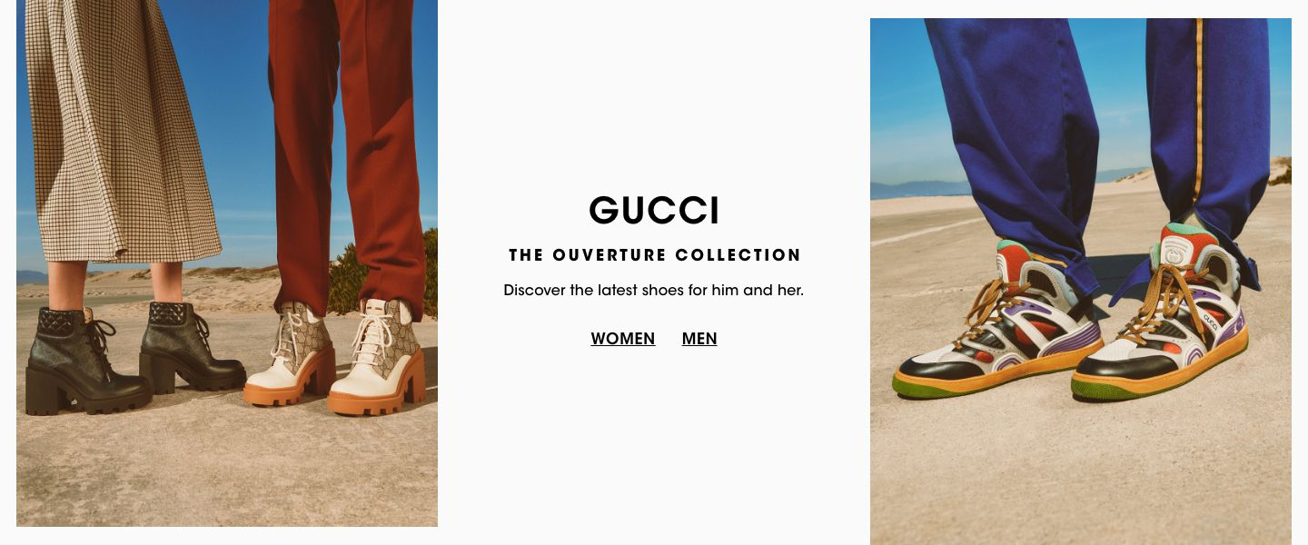 Gucci. The Ouverture Collection. Discover the latest shoes for him and her.