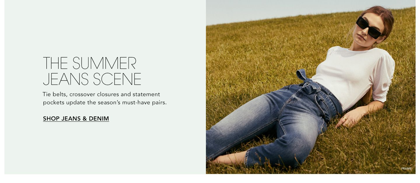 The Summer Jeans Scene. Tie belts, crossover closures and statement pockets update the season's must-have pairs.