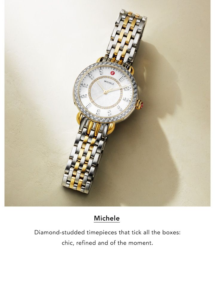 Michele. Diamond-studded timepieces that tick all the boxes. Chic, refined, and of the moment.