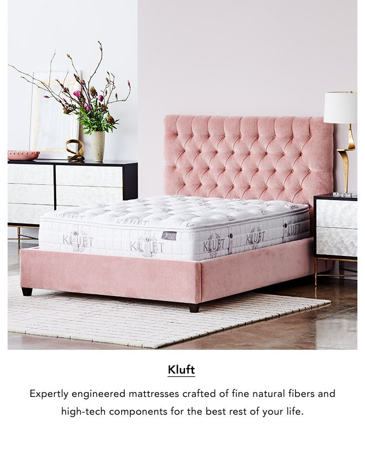 Kluft. Expertly engineered mattresses crafted of fine natural fibers and high-tech components for the best rest of your life.