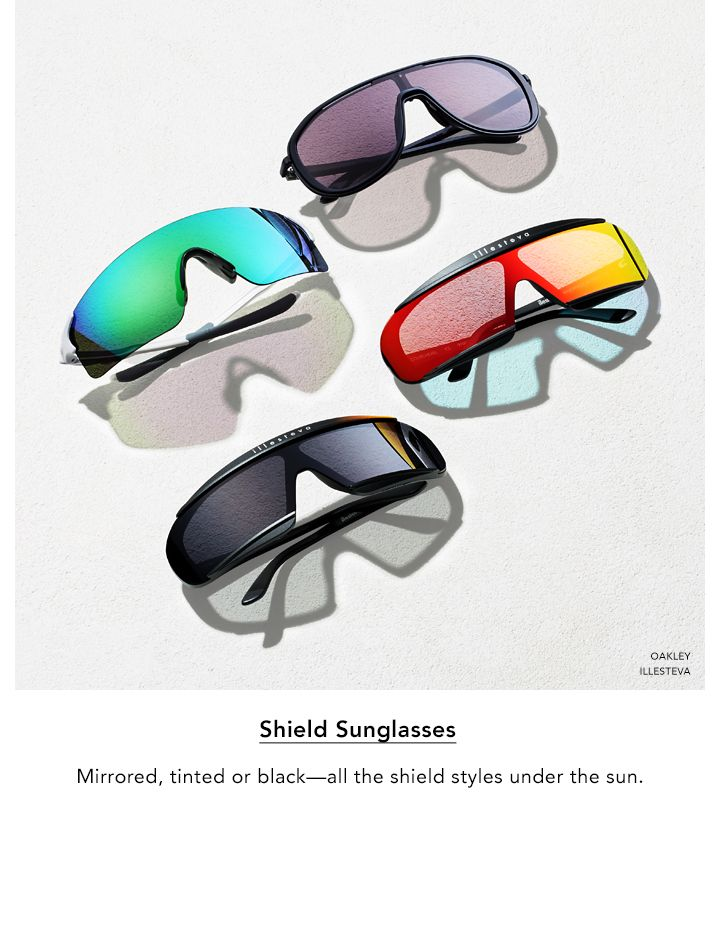 Shield Sunglasses. Mirrored, tinted or black. All the shield styles under the sun.