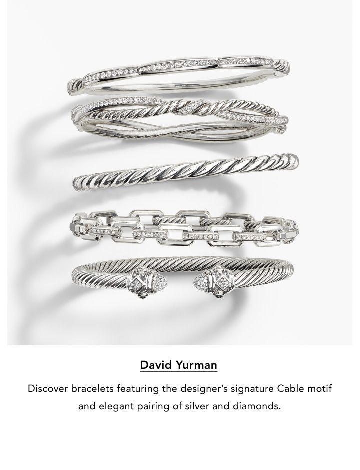 David Yurman. Discover bracelets featuring the designer's signature Cable motif and elegant pairing of silver and diamonds.