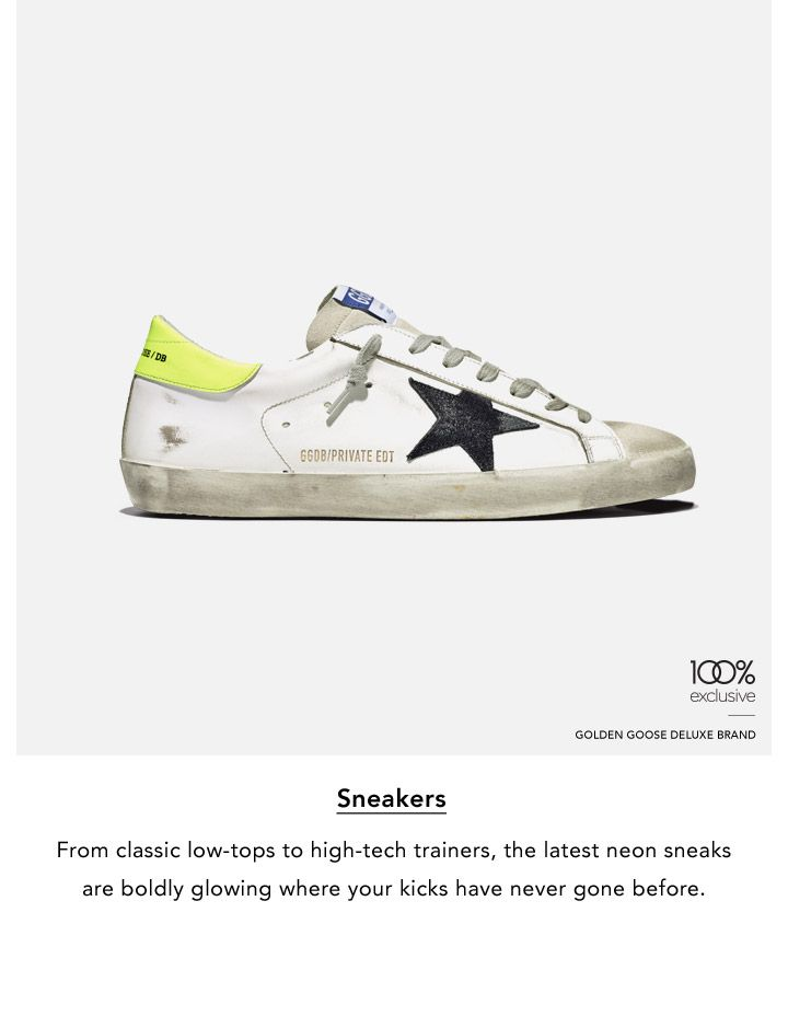Sneakers. From classic low-tops to high-tech trainers, the latest neon sneaks are bolding glowing where your kicks have never gone before.