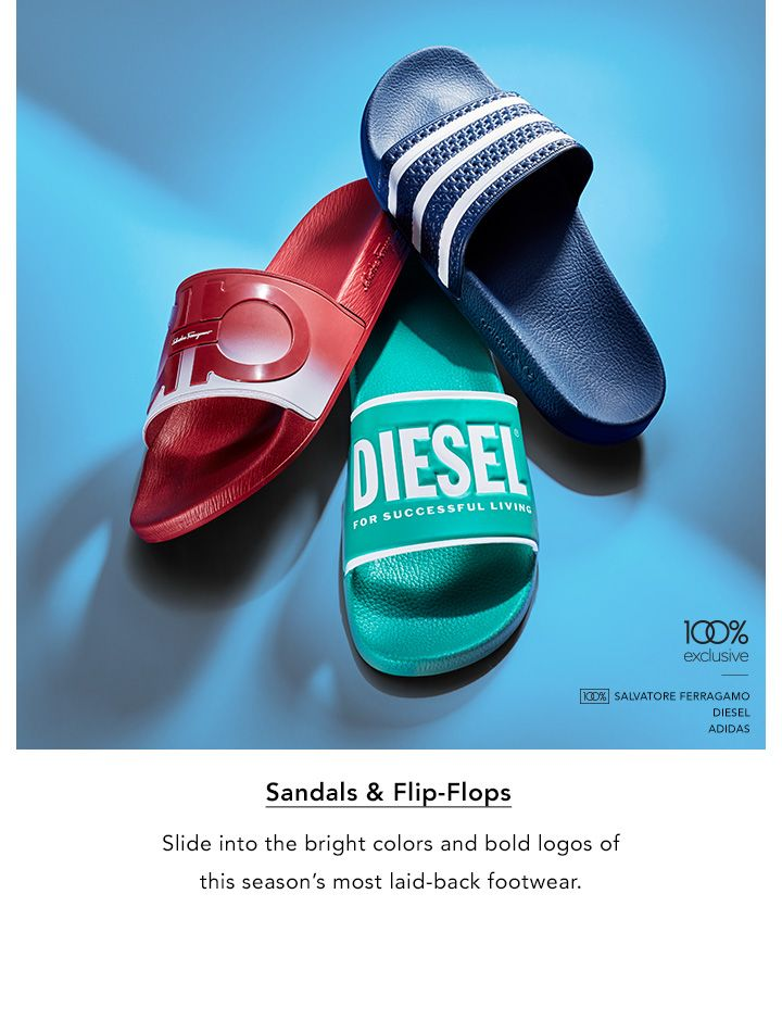 Sandals and Flip-Flops. Slide into the bright colors and bold logos of this season's most laid-back footwear.