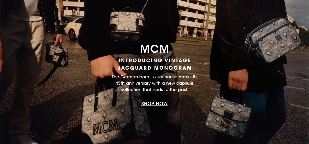 M. C. M. Introducing Vintage Jacquard Monogram. The German based luxury house marks its forty fifth anniversary with a new capsule collection that nods to the past.$$handbags mcm jacquard