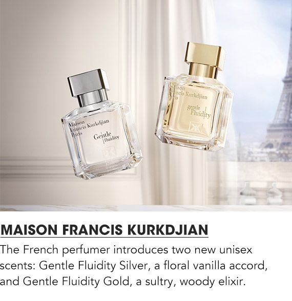 Maison Francis Kurkdjian introduces two new unisex scents. Gentle Fluidity Silver and Gentle Fluidity Gold.