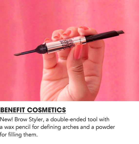 New Brow Styler, a double ended tool with a wax pencil for defining arches and a powder for filling them. Shop Benefit Cosmetics
