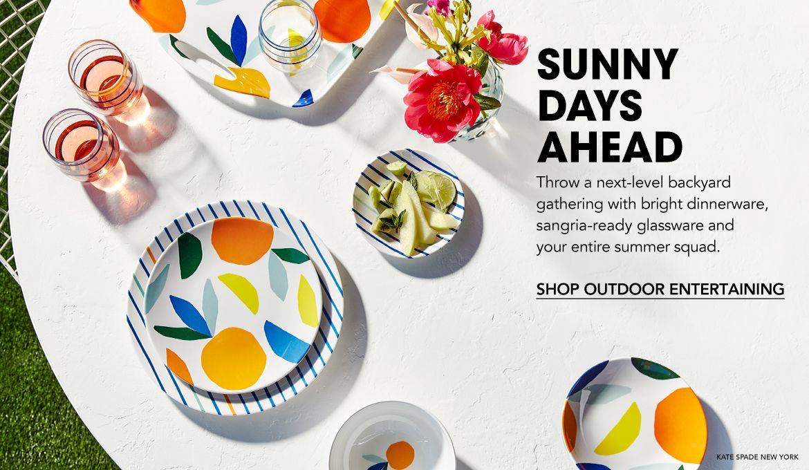 Sunny days ahead. Throw a next-level backyard gathering with bright dinnerware, sangria-ready glassware and your entire summer squad.$$home outdoor entertaining dinnerware serveware barware flatware