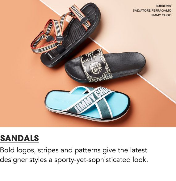Now trending, elevated sandals. Bold logos, stripes and patterns give the latest designer styles a sporty yet sophisticated look.$$mens sandals
