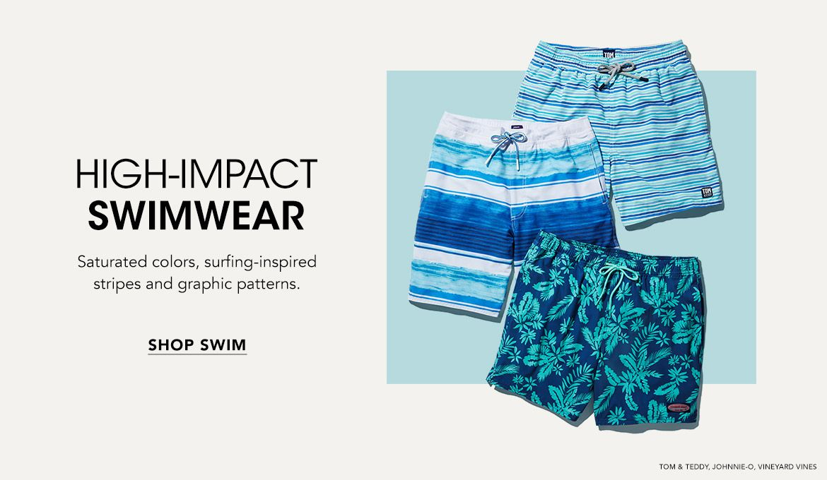 High-impact swimwear. Saturated colors, surfing-inspired stripes and graphic patterns.$$mens swim trunks sandals