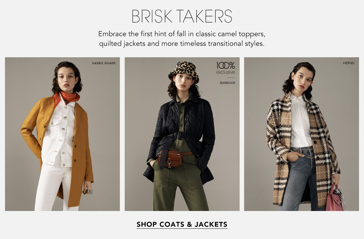 Brisk Takers. Embrace the first hint of fall in classic camel toppers, quilted jackets and more timeless transitional styles.$$coats womens jackets