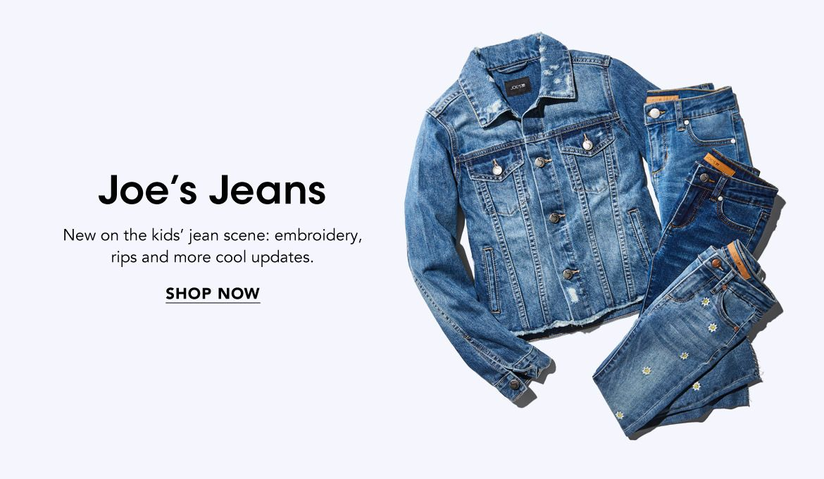 Joe's Jeans. New on the kids' jean scene, embroidery, rips and more cool updates.$$kids joe jeans